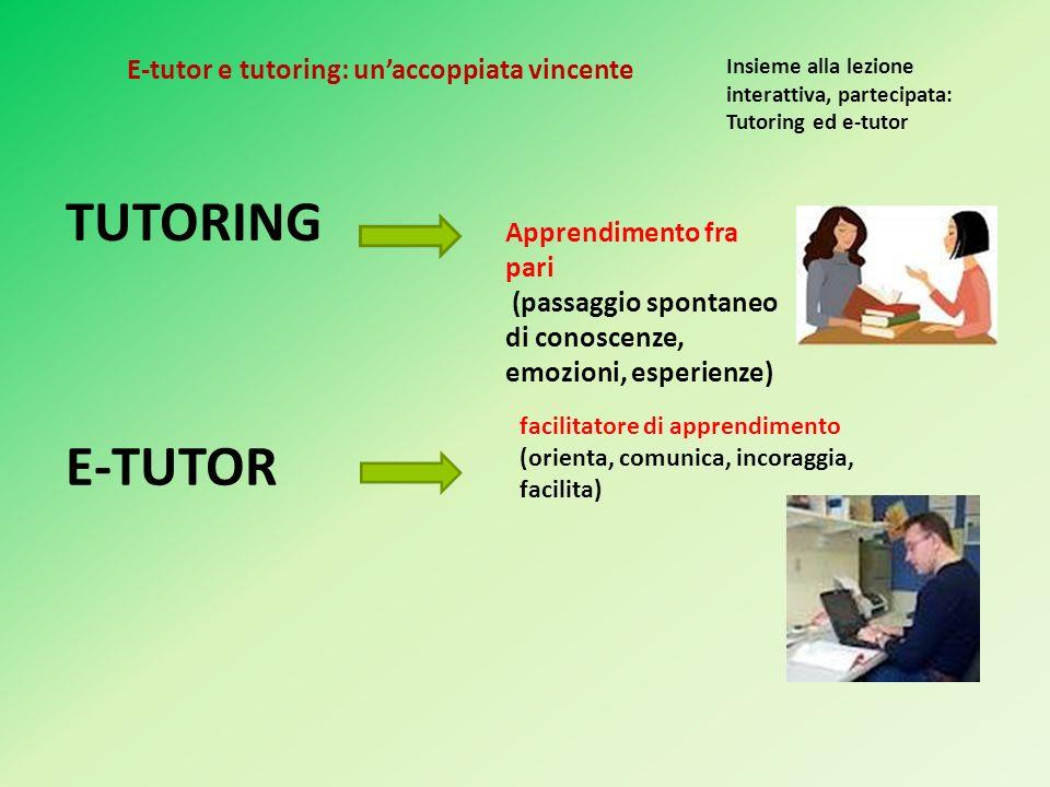 TUTORING Insieme alla lezione interattiva, partecipata: Tutoring ed e-tutor Apprendimento fra pari (passaggio spontaneo di conoscenze, emozioni, esperienze) E-TUTOR facilitatore di apprendimento (orienta, comunica, incoraggia, facilita) E-tutor e tutoring: unaccoppiata vincente