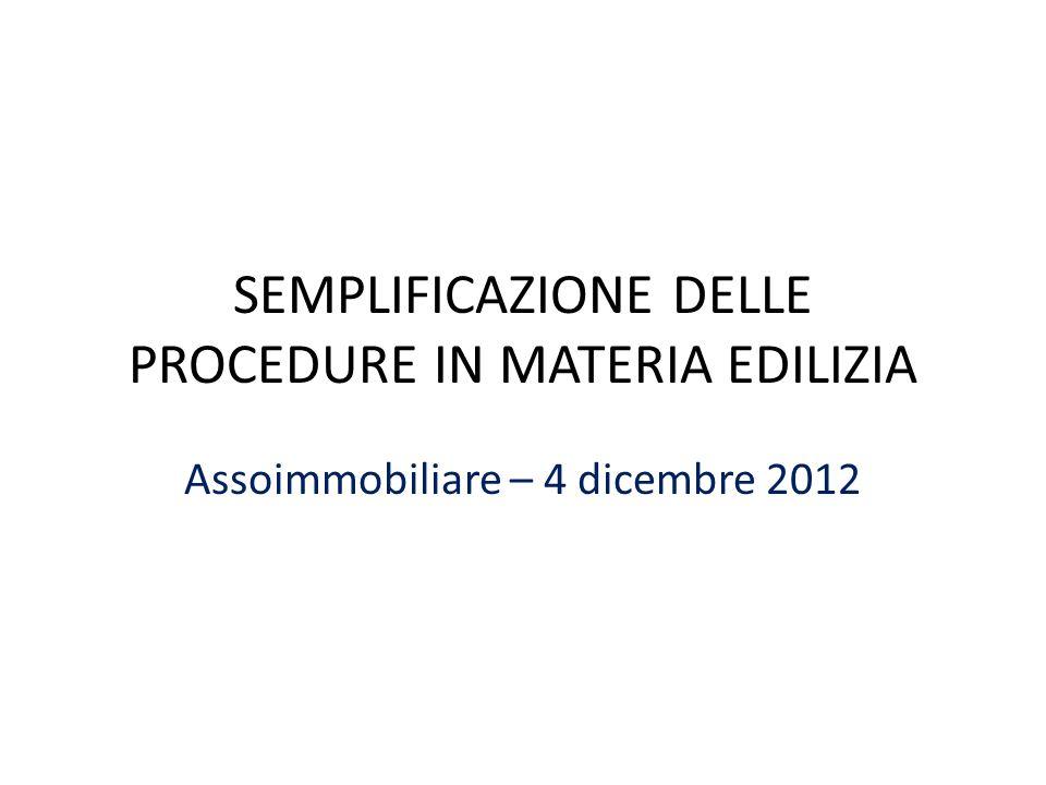 SEMPLIFICAZIONE DELLE PROCEDURE IN MATERIA EDILIZIA Assoimmobiliare – 4 dicembre 2012