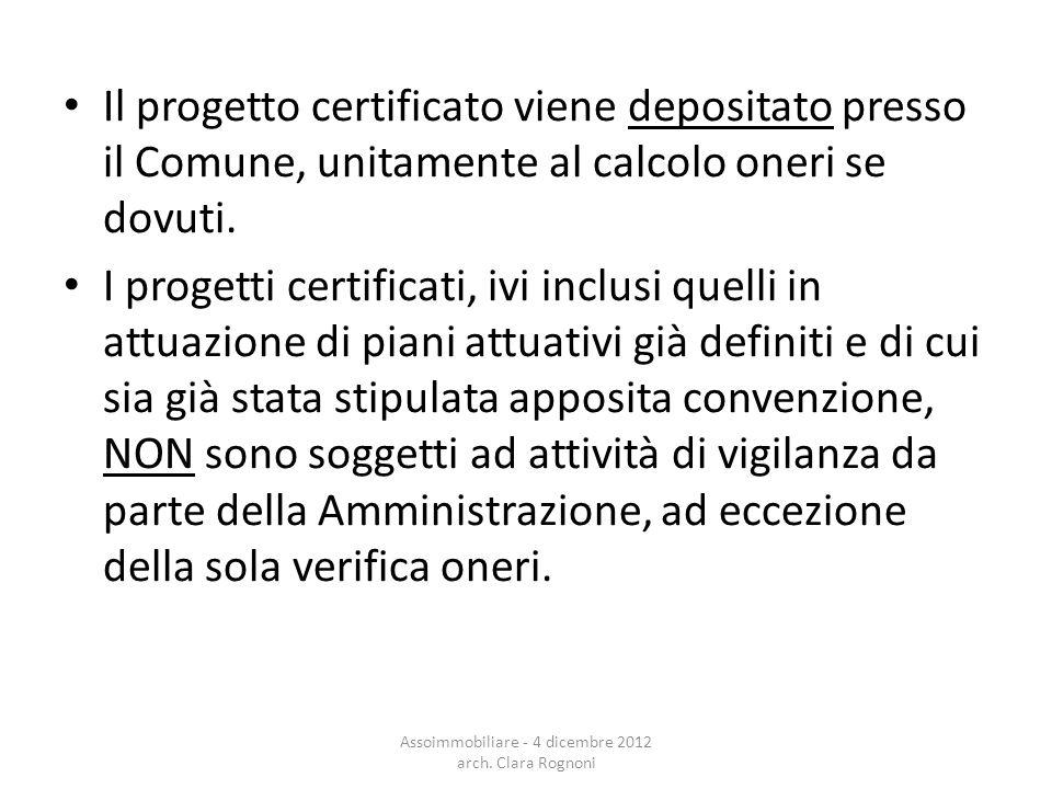 Il progetto certificato viene depositato presso il Comune, unitamente al calcolo oneri se dovuti.