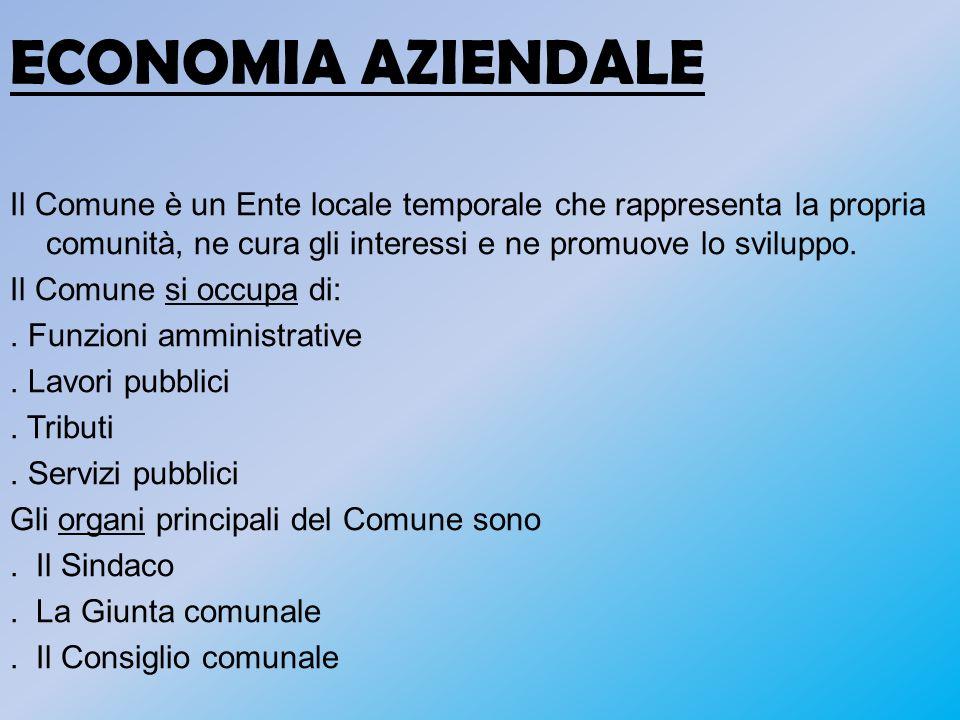 ECONOMIA AZIENDALE Il Comune è un Ente locale temporale che rappresenta la propria comunità, ne cura gli interessi e ne promuove lo sviluppo. Il Comun