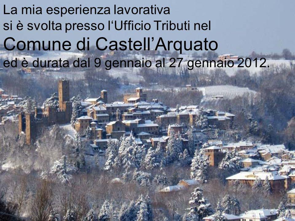 La mia esperienza lavorativa si è svolta presso lUfficio Tributi nel Comune di CastellArquato ed è durata dal 9 gennaio al 27 gennaio 2012.