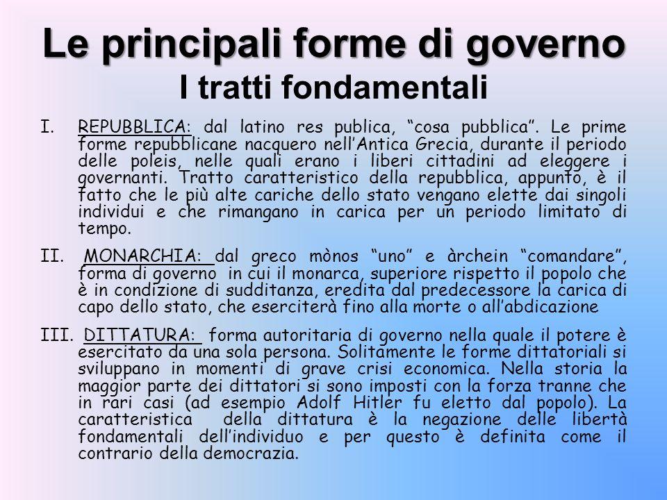 Le principali forme di governo Le principali forme di governo I tratti fondamentali I.REPUBBLICA: dal latino res publica, cosa pubblica. Le prime form