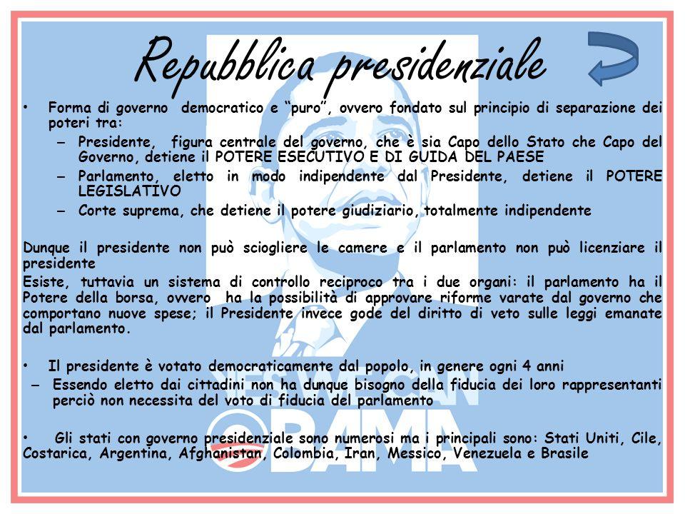 Repubblica presidenziale Forma di governo democratico e puro, ovvero fondato sul principio di separazione dei poteri tra: – Presidente, figura central