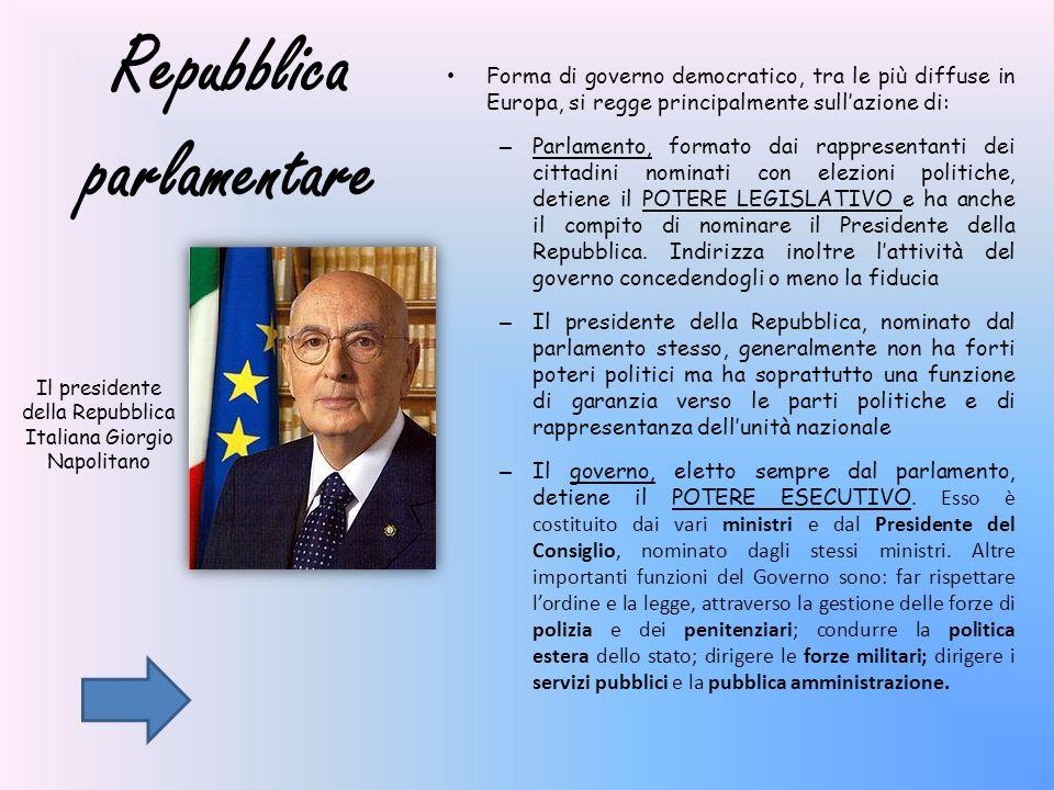 Repubblica parlamentare Forma di governo democratico, tra le più diffuse in Europa, si regge principalmente sullazione di: – Parlamento, formato dai r