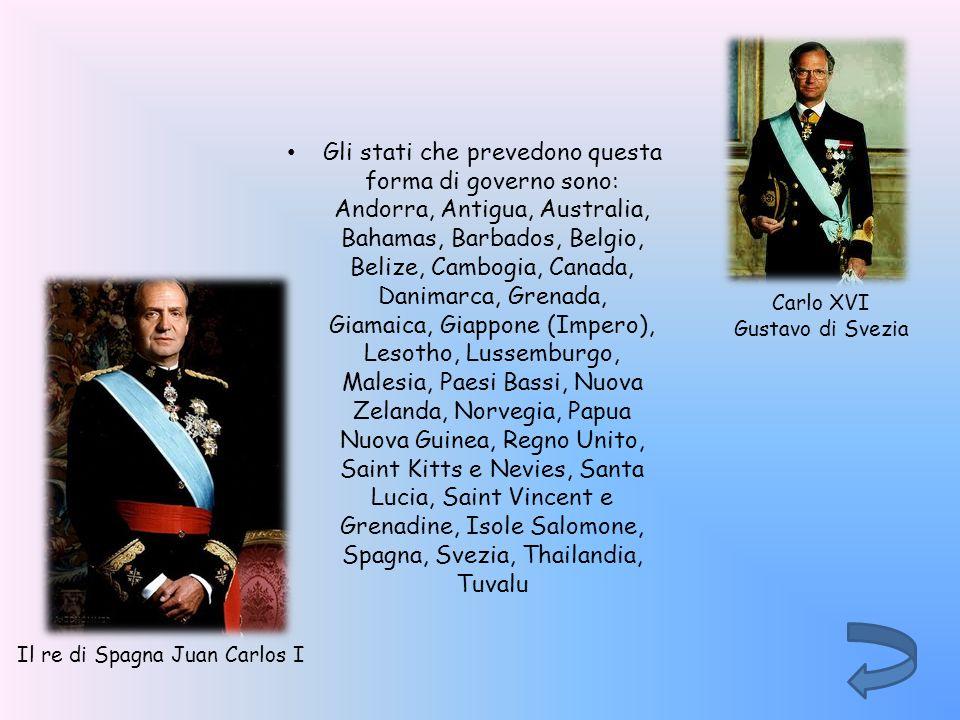 Gli stati che prevedono questa forma di governo sono: Andorra, Antigua, Australia, Bahamas, Barbados, Belgio, Belize, Cambogia, Canada, Danimarca, Gre