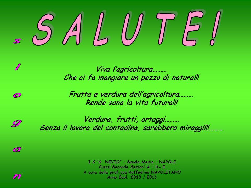 Viva lagricoltura……… Che ci fa mangiare un pezzo di natura!!! Frutta e verdura dellagricoltura……… Rende sana la vita futura!!! Verdura, frutti, ortagg