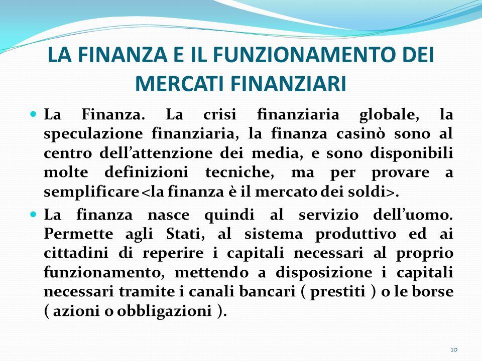 LA FINANZA E IL FUNZIONAMENTO DEI MERCATI FINANZIARI La Finanza. La crisi finanziaria globale, la speculazione finanziaria, la finanza casinò sono al