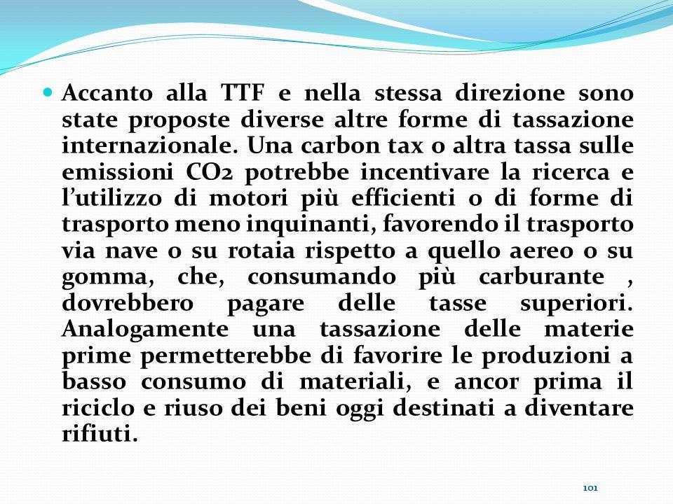 Accanto alla TTF e nella stessa direzione sono state proposte diverse altre forme di tassazione internazionale. Una carbon tax o altra tassa sulle emi