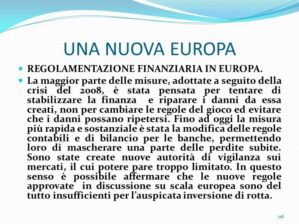 UNA NUOVA EUROPA REGOLAMENTAZIONE FINANZIARIA IN EUROPA. La maggior parte delle misure, adottate a seguito della crisi del 2008, è stata pensata per t