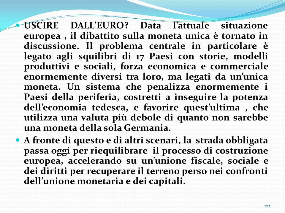USCIRE DALLEURO? Data lattuale situazione europea, il dibattito sulla moneta unica è tornato in discussione. Il problema centrale in particolare è leg