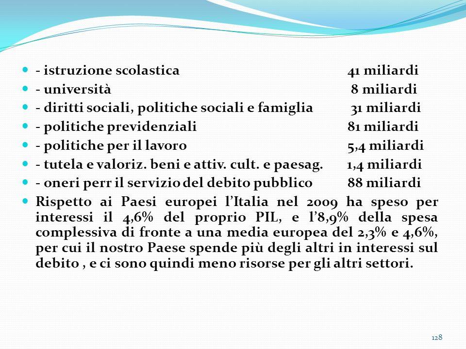 - istruzione scolastica41 miliardi - università 8 miliardi - diritti sociali, politiche sociali e famiglia 31 miliardi - politiche previdenziali81 mil