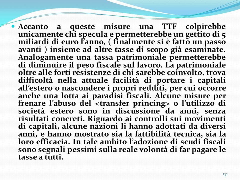 Accanto a queste misure una TTF colpirebbe unicamente chi specula e permetterebbe un gettito di 5 miliardi di euro lanno, ( finalmente si è fatto un p