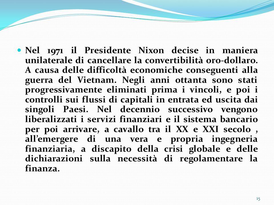 Nel 1971 il Presidente Nixon decise in maniera unilaterale di cancellare la convertibilità oro-dollaro. A causa delle difficoltà economiche conseguent