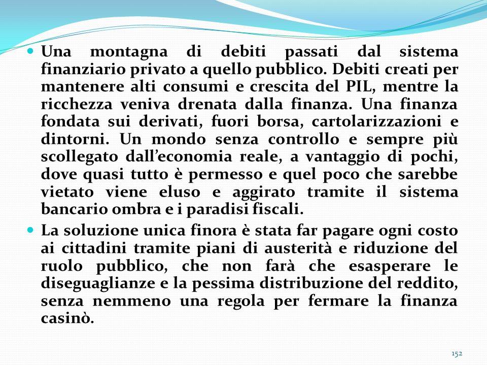 Una montagna di debiti passati dal sistema finanziario privato a quello pubblico. Debiti creati per mantenere alti consumi e crescita del PIL, mentre
