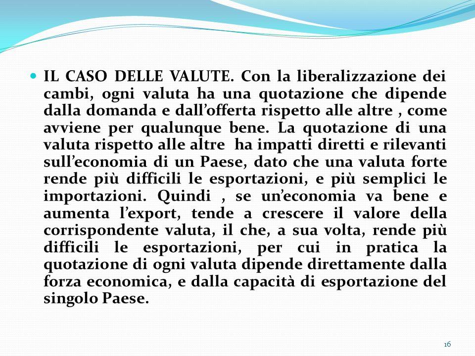 IL CASO DELLE VALUTE. Con la liberalizzazione dei cambi, ogni valuta ha una quotazione che dipende dalla domanda e dallofferta rispetto alle altre, co