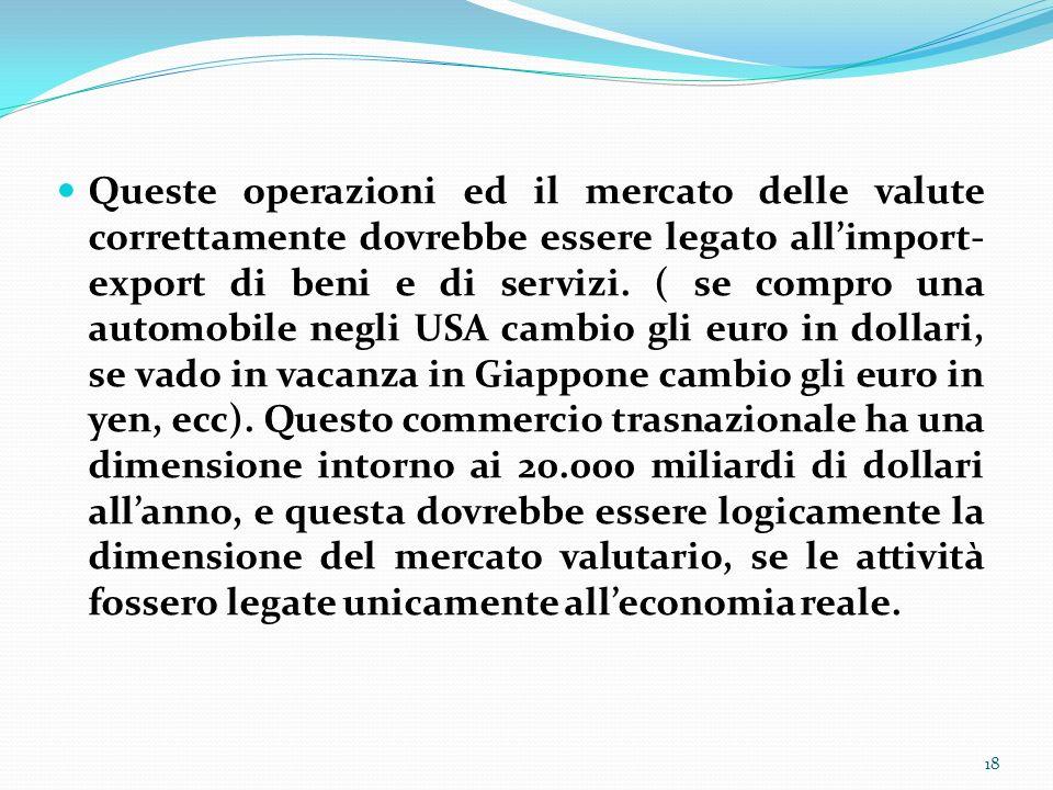 Queste operazioni ed il mercato delle valute correttamente dovrebbe essere legato allimport- export di beni e di servizi. ( se compro una automobile n