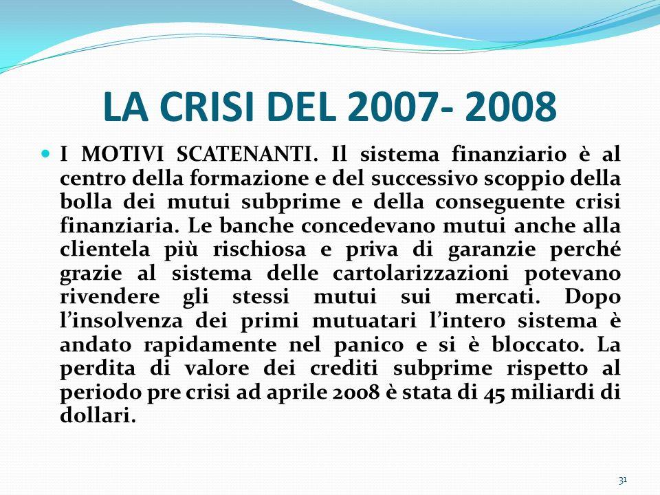LA CRISI DEL 2007- 2008 I MOTIVI SCATENANTI. Il sistema finanziario è al centro della formazione e del successivo scoppio della bolla dei mutui subpri