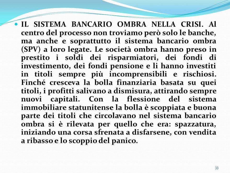 IL SISTEMA BANCARIO OMBRA NELLA CRISI. Al centro del processo non troviamo però solo le banche, ma anche e soprattutto il sistema bancario ombra (SPV)