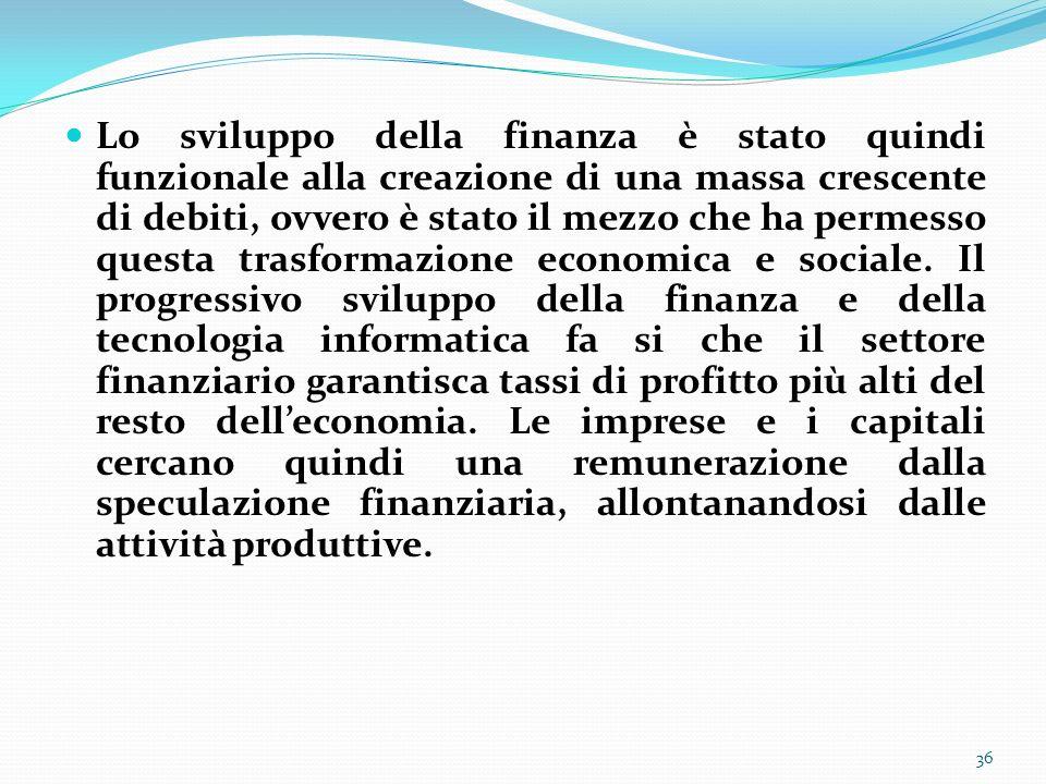 Lo sviluppo della finanza è stato quindi funzionale alla creazione di una massa crescente di debiti, ovvero è stato il mezzo che ha permesso questa tr