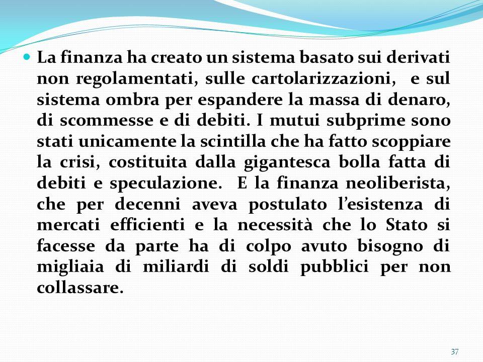 La finanza ha creato un sistema basato sui derivati non regolamentati, sulle cartolarizzazioni, e sul sistema ombra per espandere la massa di denaro,