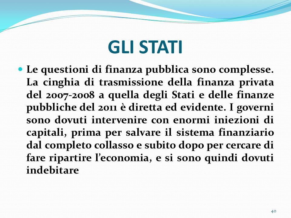 GLI STATI Le questioni di finanza pubblica sono complesse. La cinghia di trasmissione della finanza privata del 2007-2008 a quella degli Stati e delle