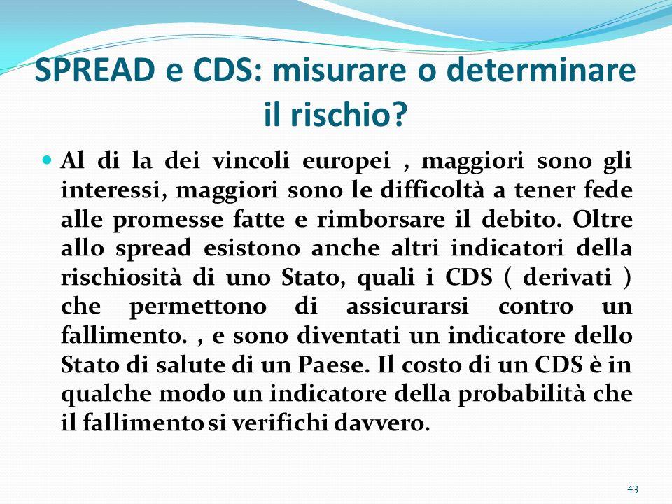 SPREAD e CDS: misurare o determinare il rischio? Al di la dei vincoli europei, maggiori sono gli interessi, maggiori sono le difficoltà a tener fede a