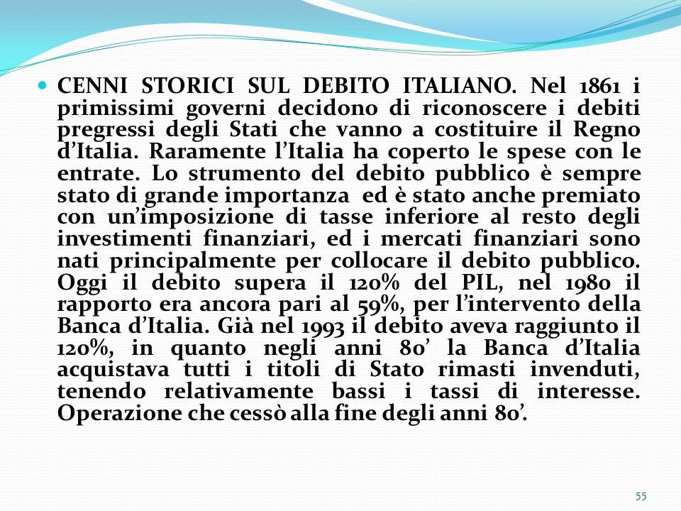 CENNI STORICI SUL DEBITO ITALIANO. Nel 1861 i primissimi governi decidono di riconoscere i debiti pregressi degli Stati che vanno a costituire il Regn