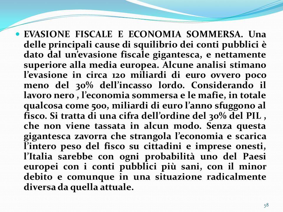 EVASIONE FISCALE E ECONOMIA SOMMERSA. Una delle principali cause di squilibrio dei conti pubblici è dato dal unevasione fiscale gigantesca, e nettamen