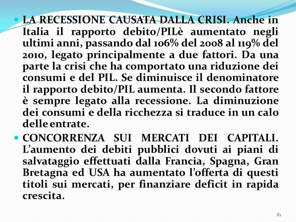 LA RECESSIONE CAUSATA DALLA CRISI. Anche in Italia il rapporto debito/PILè aumentato negli ultimi anni, passando dal 106% del 2008 al 119% del 2010, l