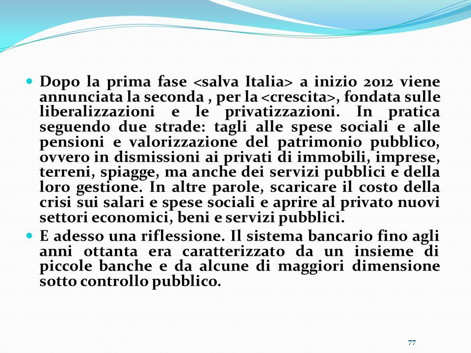 Dopo la prima fase a inizio 2012 viene annunciata la seconda, per la, fondata sulle liberalizzazioni e le privatizzazioni. In pratica seguendo due str
