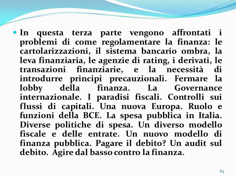 In questa terza parte vengono affrontati i problemi di come regolamentare la finanza: le cartolarizzazioni, il sistema bancario ombra, la leva finanzi