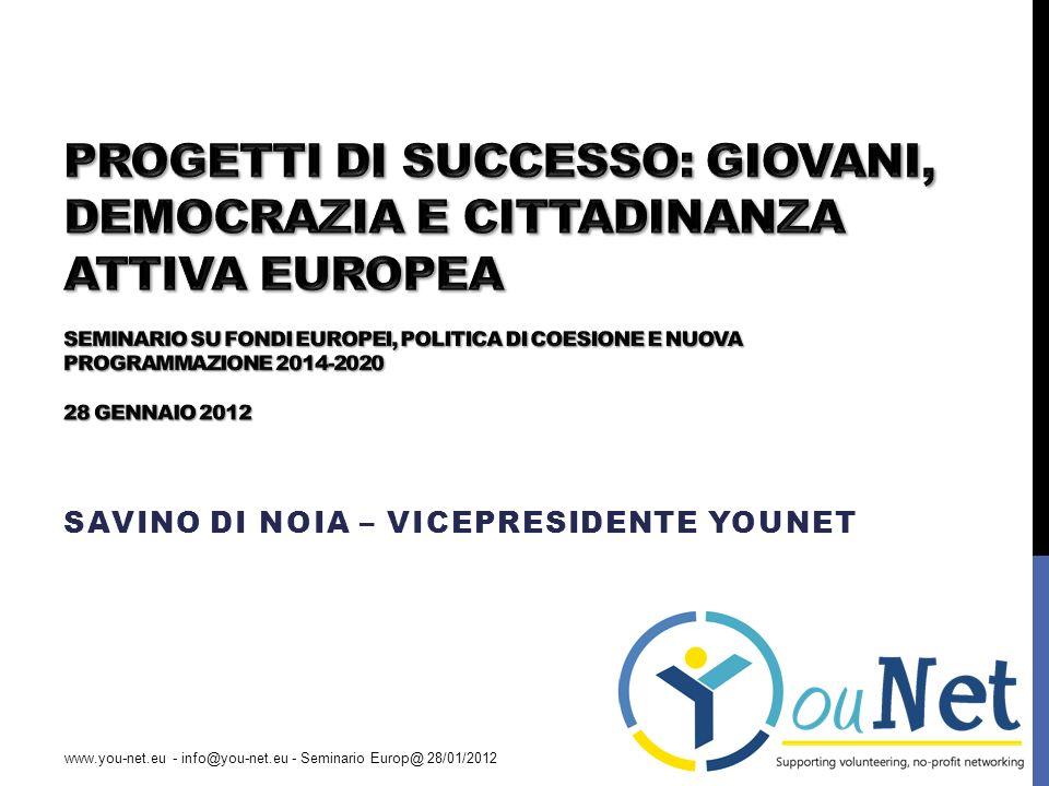 ALTRI SPUNTI Servizio Volontario Europeo: http://www.agenziagiovani.it/azioni/azione2.aspx http://www.agenziagiovani.it/azioni/azione2.aspx Progetti Giovani e Democrazia: http://www.agenziagiovani.it/azioni/azione1.aspx http://www.agenziagiovani.it/azioni/azione1.aspx Incontri dei giovani con i responsabili delle politiche per la gioventù: http://www.agenziagiovani.it/azioni/azione5.aspxhttp://www.agenziagiovani.it/azioni/azione5.aspx Gemellaggio tra città: http://www.europacittadini.it/index.php?it/108/misura-1- gemellaggio-tra-citta http://www.europacittadini.it/index.php?it/108/misura-1- gemellaggio-tra-citta Educazione per adulti: http://www.programmallp.it/home.php?id_cnt=68 http://www.programmallp.it/home.php?id_cnt=68 Istruzione e formazione professionale Leonardo Da Vinci: http://www.programmaleonardo.net/llp/home.asp http://www.programmaleonardo.net/llp/home.asp www.you-net.eu - info@you-net.eu - Seminario Europ@ 28/01/2012