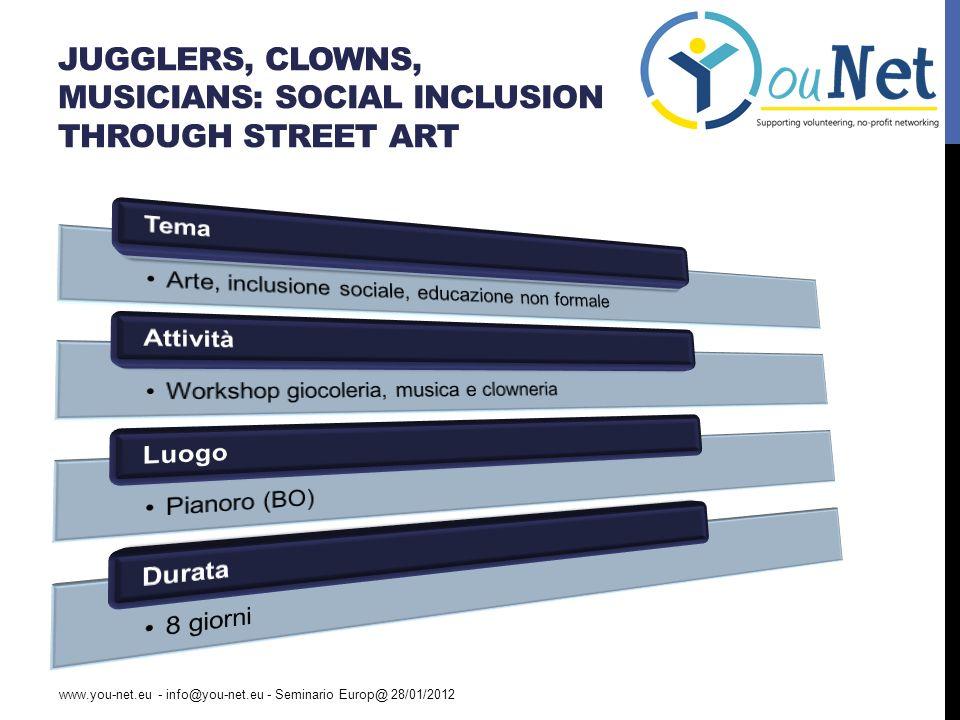 JUGGLERS, CLOWNS, MUSICIANS: SOCIAL INCLUSION THROUGH STREET ART www.you-net.eu - info@you-net.eu - Seminario Europ@ 28/01/2012