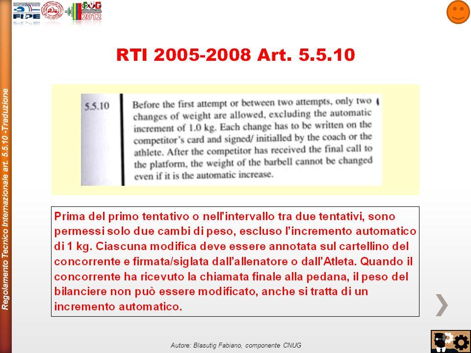 Regolamento Tecnico Internazionale art.