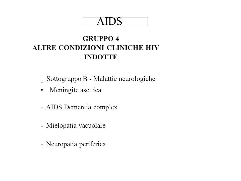GRUPPO 4 ALTRE CONDIZIONI CLINICHE HIV INDOTTE Sottogruppo B - Malattie neurologiche - Meningite asettica - AIDS Dementia complex - Mielopatia vacuolare - Neuropatia periferica AIDS