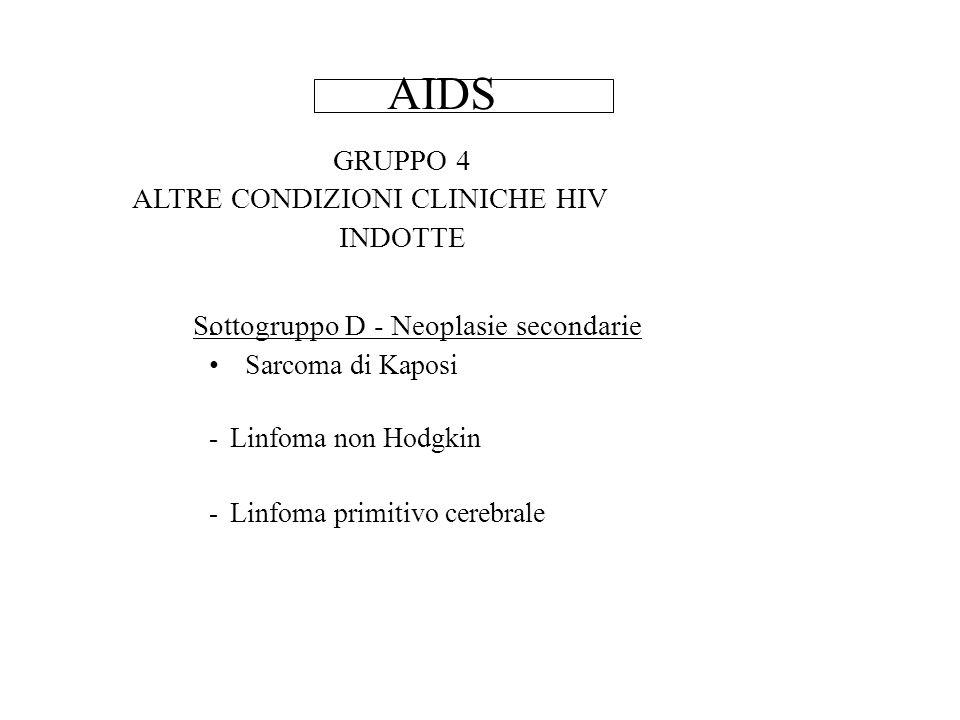 AIDS GRUPPO 4 ALTRE CONDIZIONI CLINICHE HIV INDOTTE Sottogruppo D - Neoplasie secondarie - Sarcoma di Kaposi - Linfoma non Hodgkin - Linfoma primitivo cerebrale