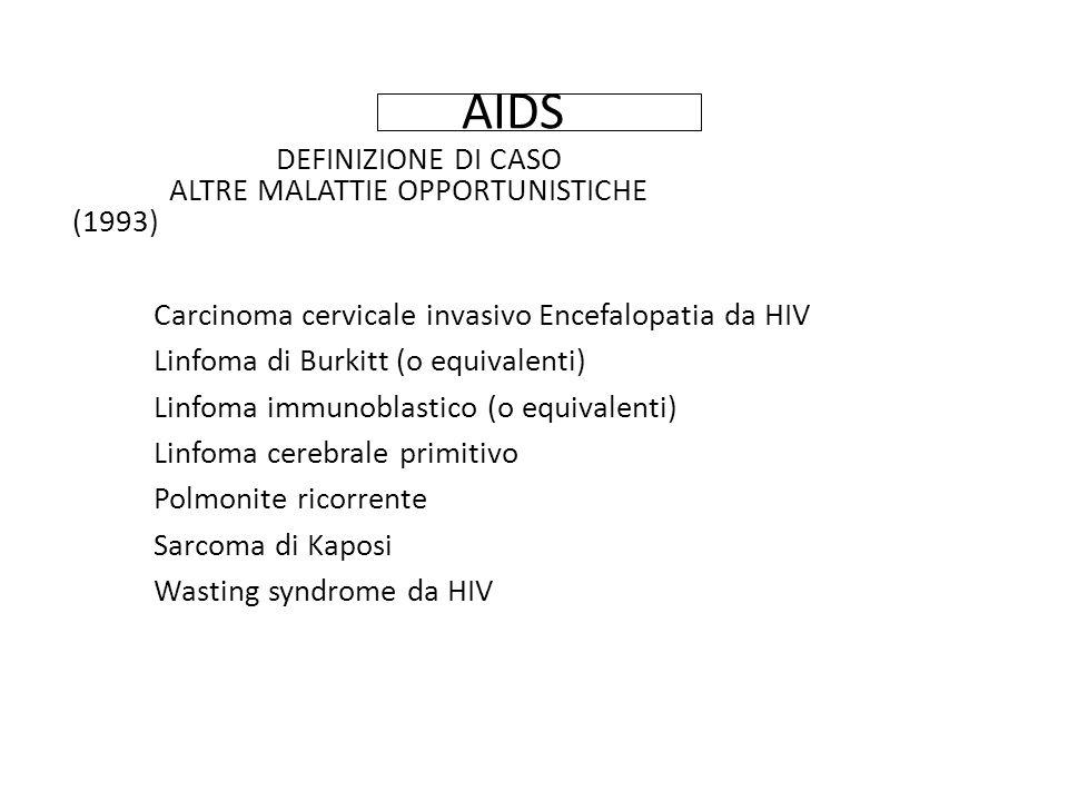 AIDS DEFINIZIONE DI CASO ALTRE MALATTIE OPPORTUNISTICHE (1993) Carcinoma cervicale invasivo Encefalopatia da HIV Linfoma di Burkitt (o equivalenti) Linfoma immunoblastico (o equivalenti) Linfoma cerebrale primitivo Polmonite ricorrente Sarcoma di Kaposi Wasting syndrome da HIV