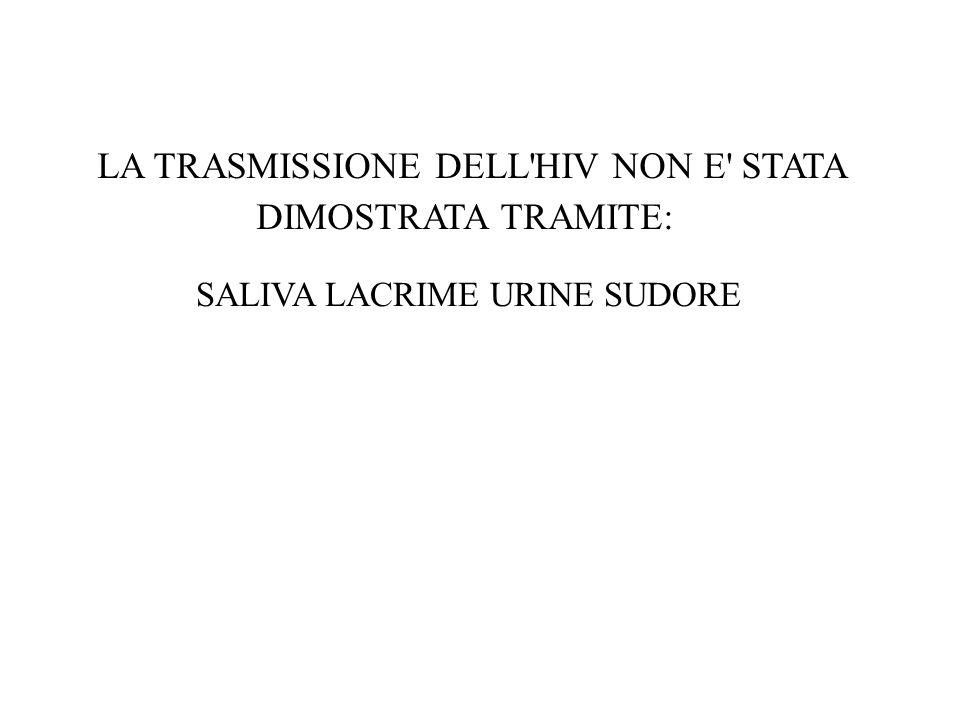 LA TRASMISSIONE DELL HIV NON E STATA DIMOSTRATA TRAMITE: SALIVA LACRIME URINE SUDORE
