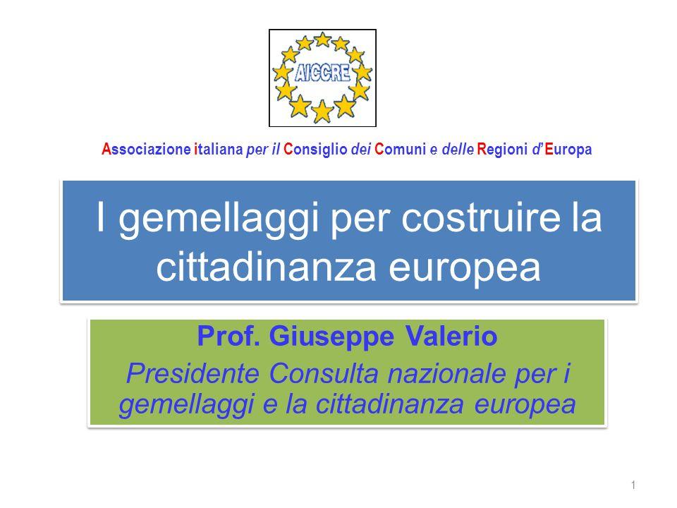 I gemellaggi per costruire la cittadinanza europea Prof.