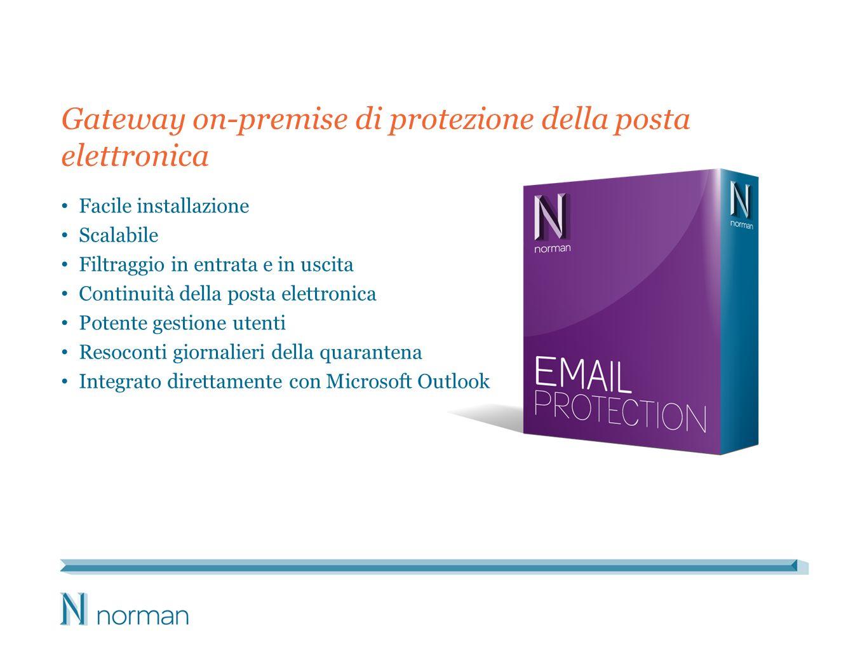Gateway on-premise di protezione della posta elettronica Facile installazione Scalabile Filtraggio in entrata e in uscita Continuità della posta elettronica Potente gestione utenti Resoconti giornalieri della quarantena Integrato direttamente con Microsoft Outlook