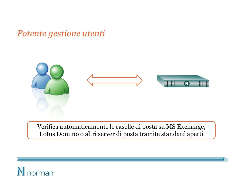 Potente gestione utenti Verifica automaticamente le caselle di posta su MS Exchange, Lotus Domino o altri server di posta tramite standard aperti