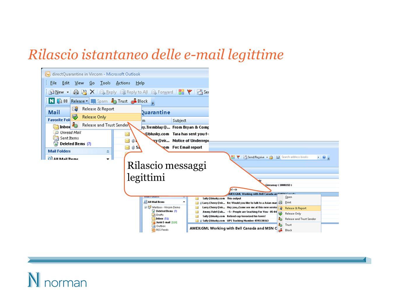 Rilascio istantaneo delle e-mail legittime Rilascio messaggi legittimi