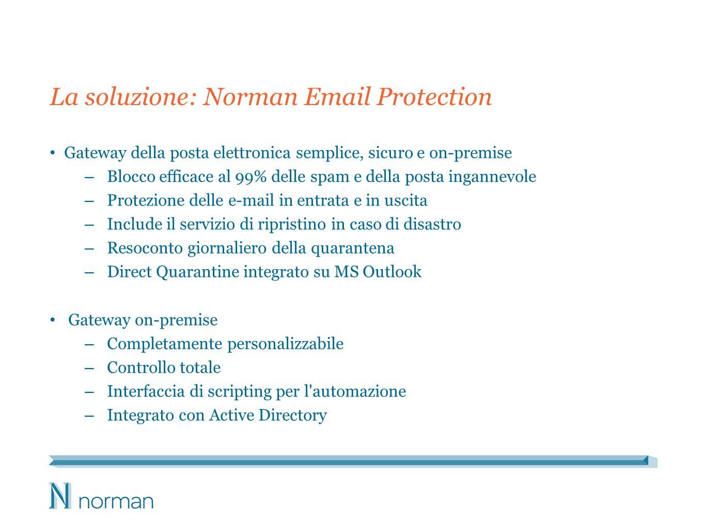 La soluzione: Norman Email Protection Gateway della posta elettronica semplice, sicuro e on-premise – Blocco efficace al 99% delle spam e della posta ingannevole – Protezione delle e-mail in entrata e in uscita – Include il servizio di ripristino in caso di disastro – Resoconto giornaliero della quarantena – Direct Quarantine integrato su MS Outlook Gateway on-premise – Completamente personalizzabile – Controllo totale – Interfaccia di scripting per l automazione – Integrato con Active Directory