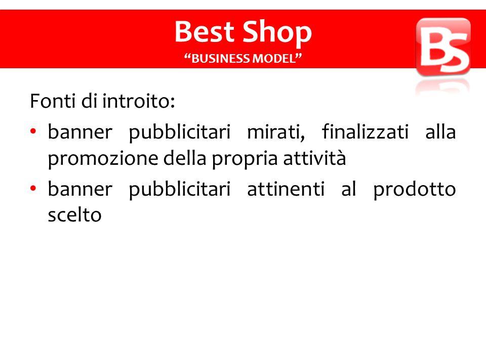 Fonti di introito: banner pubblicitari mirati, finalizzati alla promozione della propria attività banner pubblicitari attinenti al prodotto scelto Best Shop BUSINESS MODEL