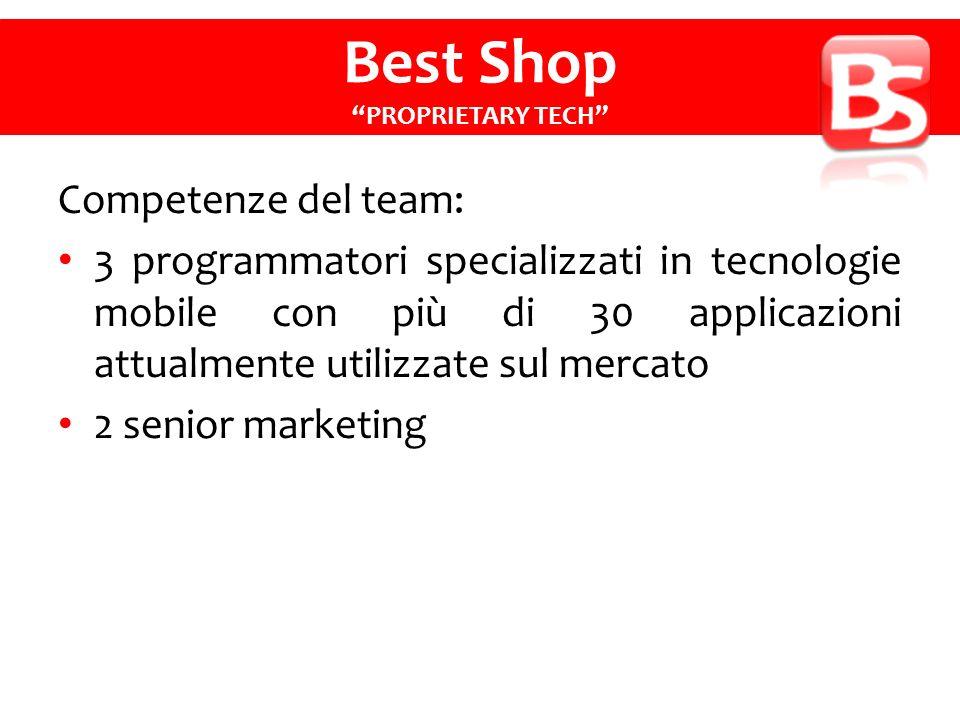Competenze del team: 3 programmatori specializzati in tecnologie mobile con più di 30 applicazioni attualmente utilizzate sul mercato 2 senior marketing Best Shop PROPRIETARY TECH