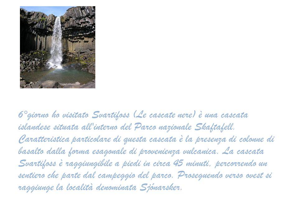 6°giorno ho visitato Svartifoss (Le cascate nere) è una cascata islandese situata all'interno del Parco nazionale Skaftafell. Caratteristica particola