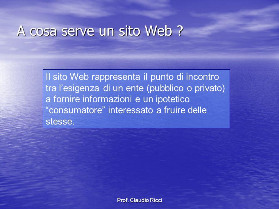 Prof.Claudio Ricci Quali conoscenze per realizzare un sito .