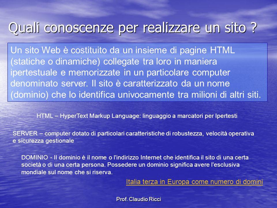 Prof. Claudio Ricci Quali conoscenze per realizzare un sito .