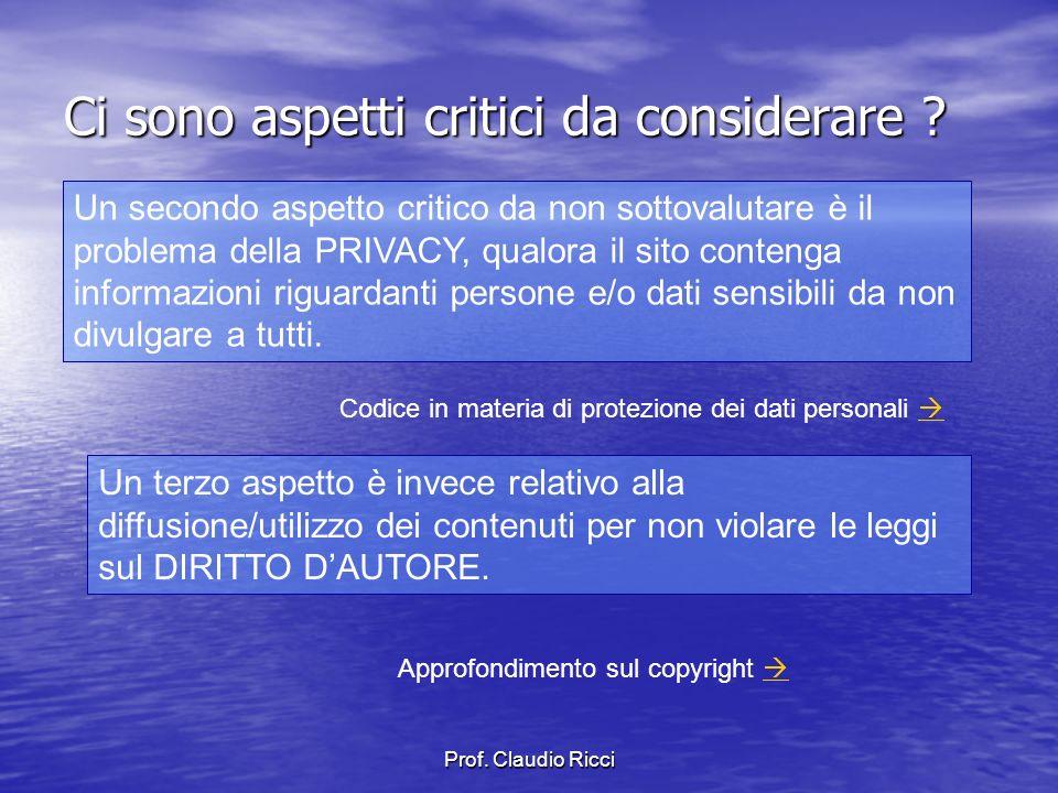 Prof.Claudio Ricci Quali impegni comporta la gestione di un sito Web .