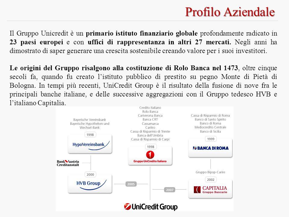 Profilo Aziendale Il Gruppo Unicredit è un primario istituto finanziario globale profondamente radicato in 23 paesi europei e con uffici di rappresent
